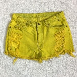 Levi's Distressed Bright Yellow Cut Offs